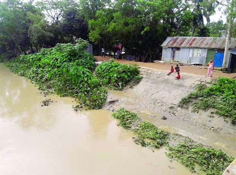 HABIGANJ: Adjacent areas of Khoai River still under water as water level increases. This snap was taken on Thursday.