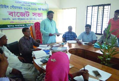 GHATAIL(Tangail): Shaheeduzzaman Khan, Mayor Ghatail Pourashava announcing the budget of Ghatail Poursahava of 2017-2018 fiscal yesr on Tuesday.