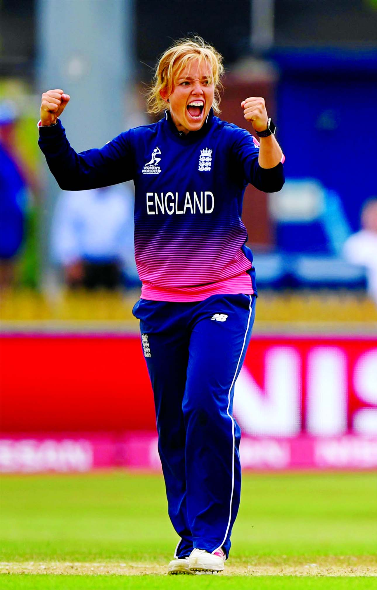 Danielle Hazell claimed the wicket of Punam Raut in the match of the ICC Women`s World Cup between England and India in Derby on Saturday.