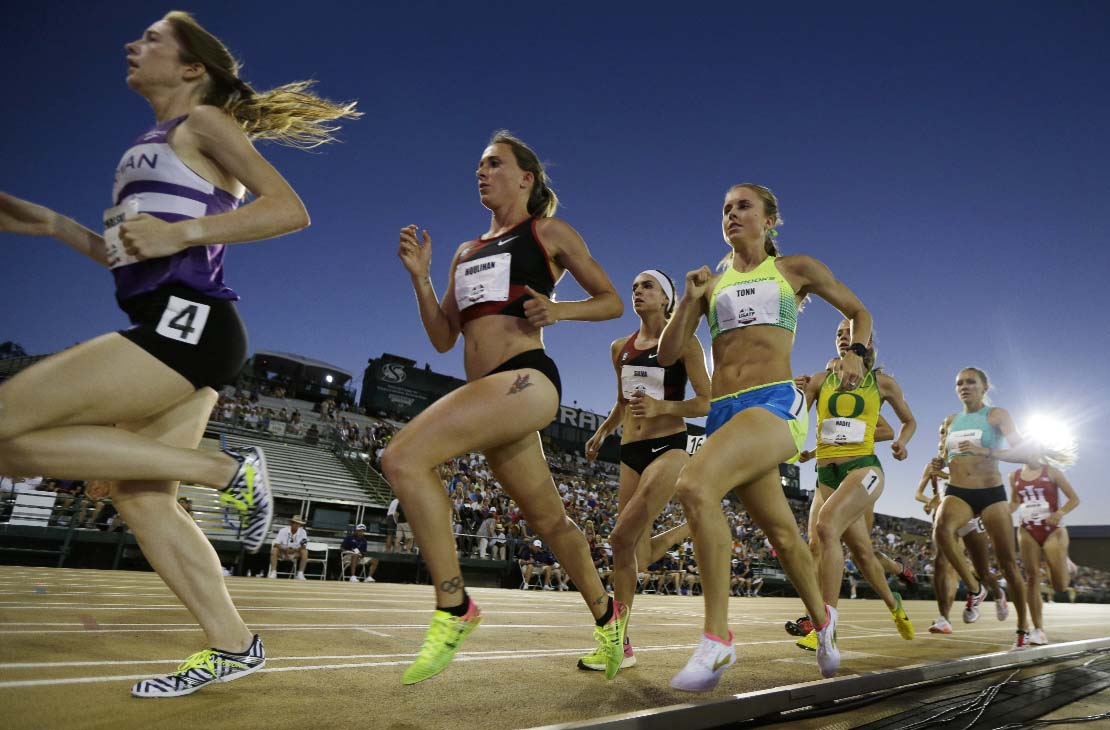 Runners in the women's 5,000 meters, including Shelby Houlihan ( second from left) compete during the U.S. Track and Field Championships in Sacramento, Calif on Friday. Houlihan won the race.