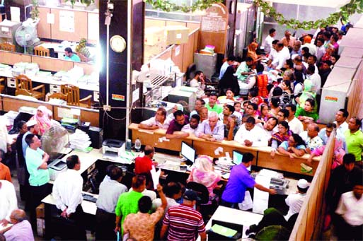 Account holders crowded the Sonali Bank Motijheel office on the first day of the opening on Wednesday after the Eid holiday.