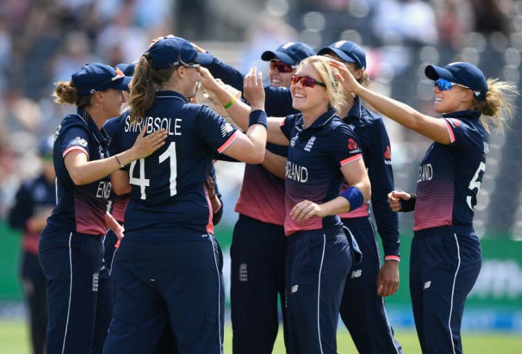 Heather Knight struck in her first over during the Women`s World Cup semi-final between England and South Africa at  Bristol on Tuesday.