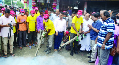 THAKURGAON: Ramesh Chandra Sen MP inaugurating mosquito eradication  drive in Thakurgaon Pourashava yesterday.