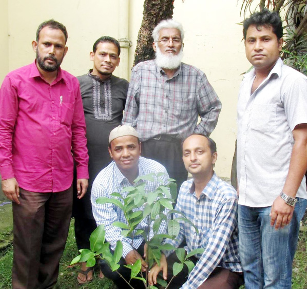 In observance of the National Tree Plantation Programme ,  Ex-students of  Azizur Rahman Homeopathic Medical College and Hospital  planting a sapling of  fruit bearing trees at college premises  yesterday.