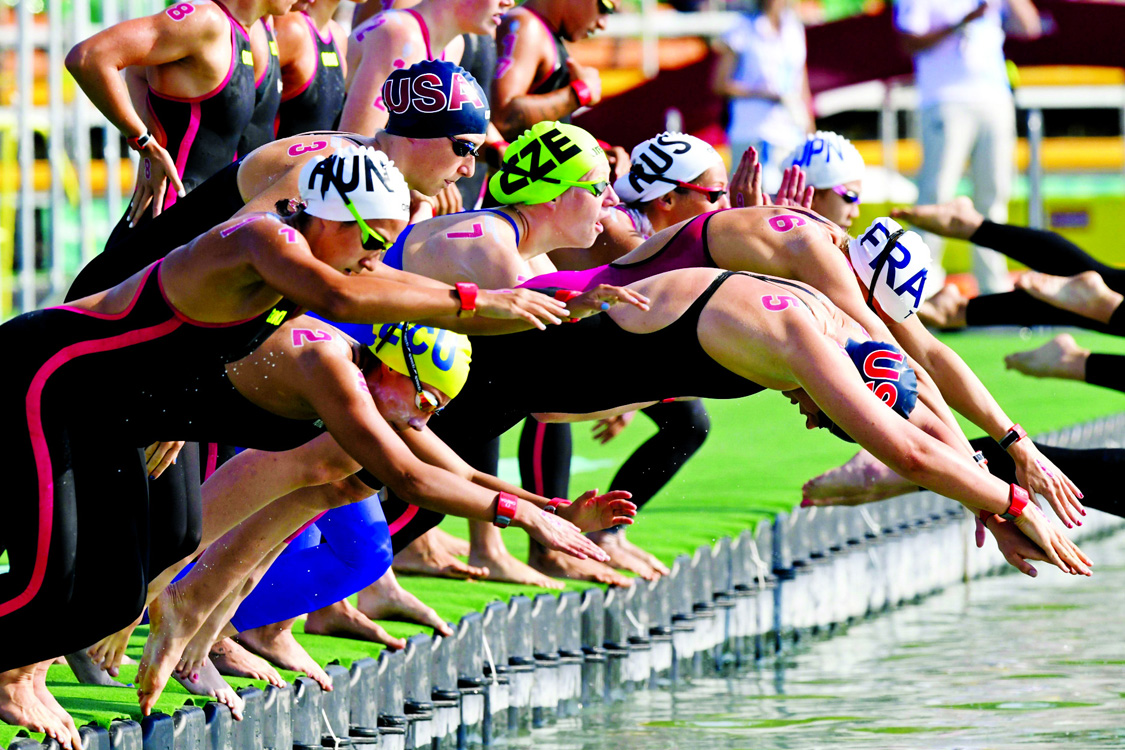 Swimmers start women's open water 25km final of FINA Swimming World Championships 2017 in Balatonfured, Hungary on Friday.