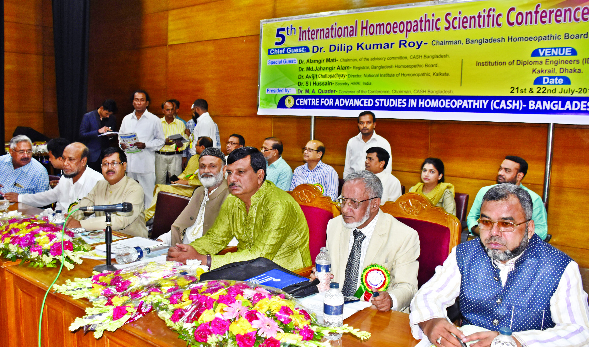 Chairman of Bangladesh Homeopathic Board Dr Dilip Kumar Roy speaking at the 5th International Homeopathic Scientific Conference at IDEB Auditorium in the city on Friday.