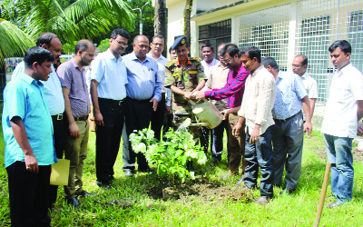 SYLHET: Brig Gen  A K Mahbubul Huq, Director, Sylhet M A G Osmani Medical College and Hospital  inaugurating plantation programme at  Shaheed Samsudiin Hospital  recently.