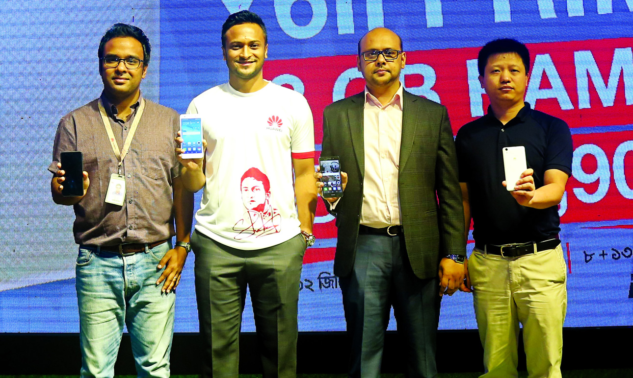 From left to right- Head of Marketing-Device Business Department of Huawei Technologies (Bangladesh) Ltd. Mr. Mashrur Hassan Mim, Huawei Brand Ambassador Shakib Al Hasan, Device Sales Director of Huawei Technologies (Bangladesh) Ltd. Mr Ziauddin Chowdhury and Head of Product GTM Mr. Icoca.