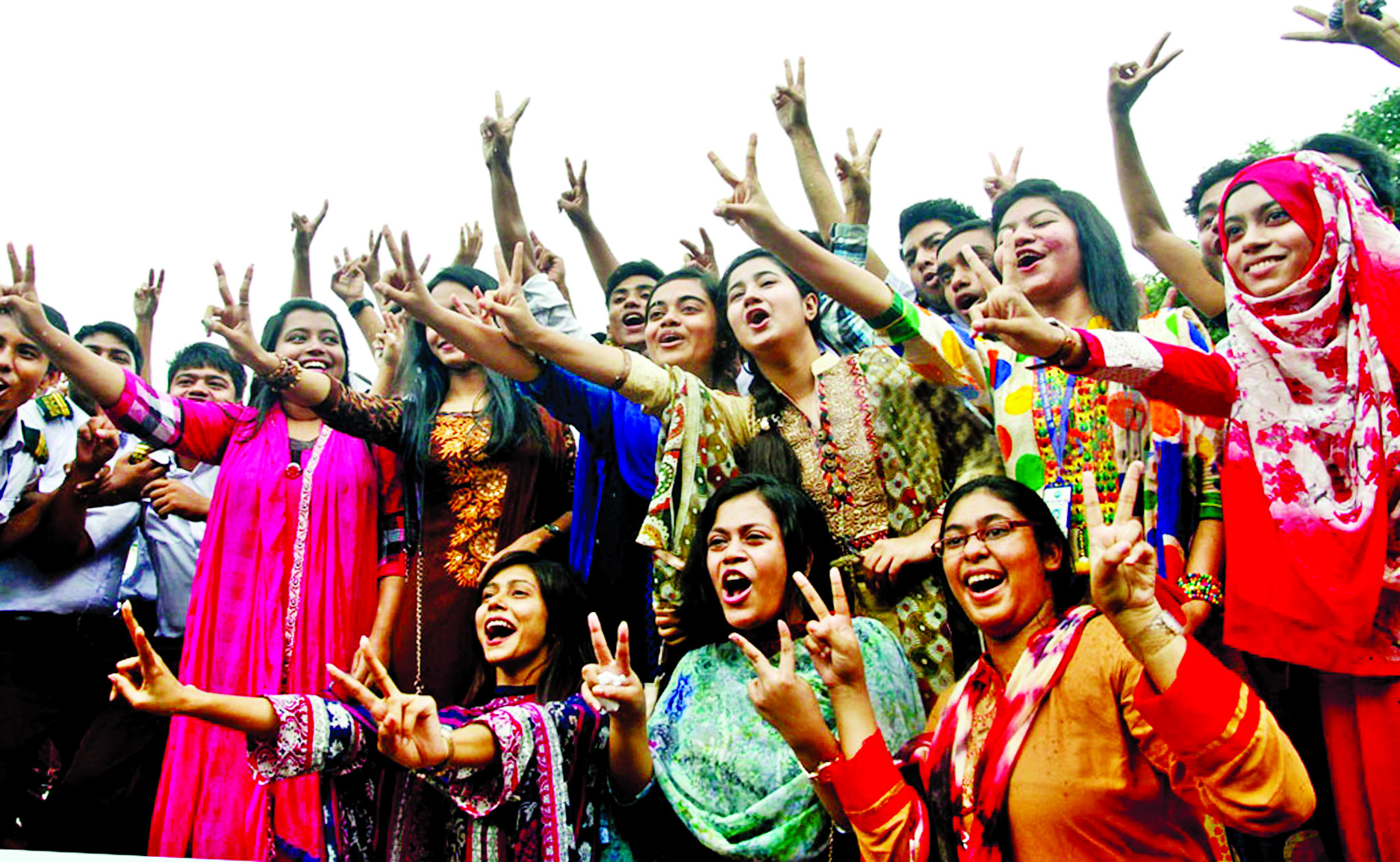 Rajuk Uttara Model College examinees rejoicing after getting their results on Sunday.