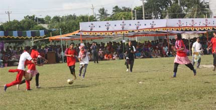A moment of the final match of Begum Rokeya Women Football tournament between Women & Gender Studies and Bangla Department at the Begum Rokeya University in Rangpur on Monday.