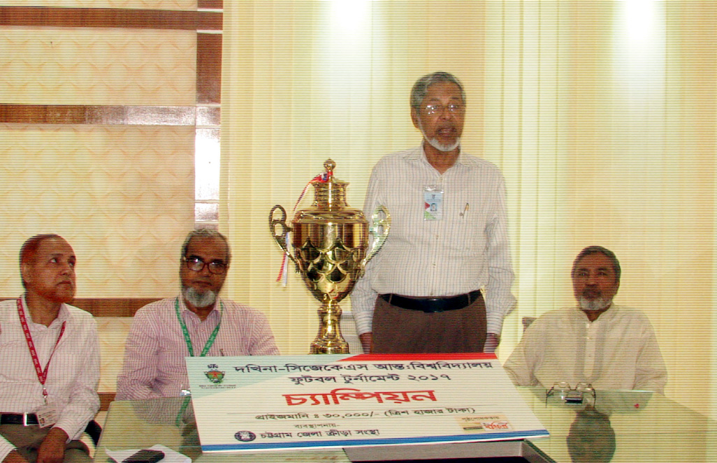 VC of IIUC Prof Dr. AKM Azharul Islam was attending  at a reaception for the Footbal Team of IIUC as they received Champion Ttropy defating Southeran University Football Team as chief guest at IIUC permanent Campus in Kumira on Friday.