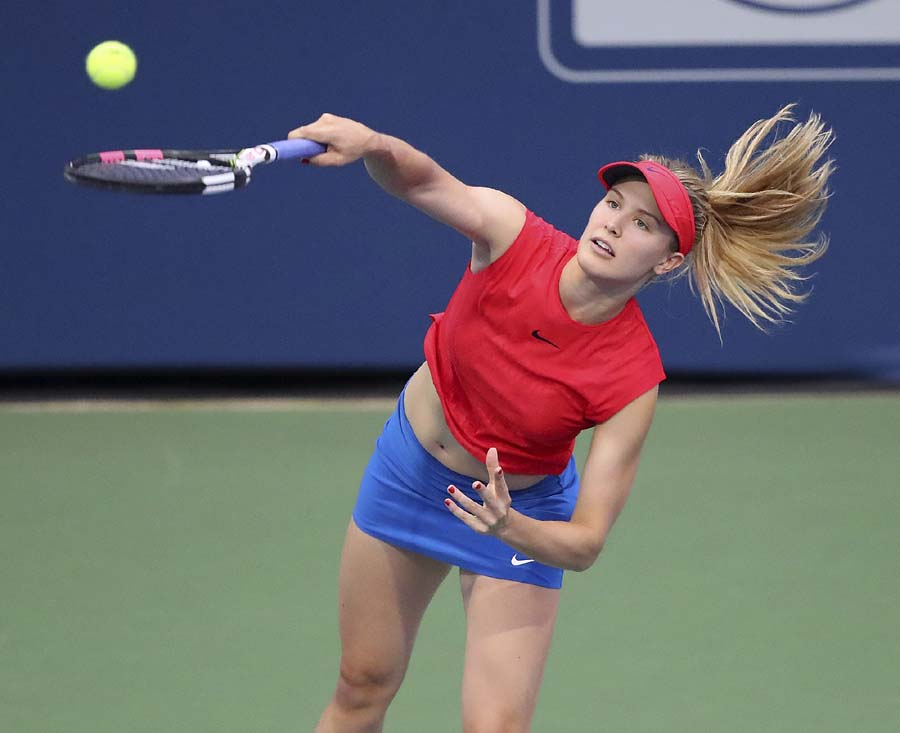 Canada's Genie Bouchard serves to Venus Williams in a special women's exhibition match at the BB&T Atlanta Open Tournament in Atlanta on Sunday.