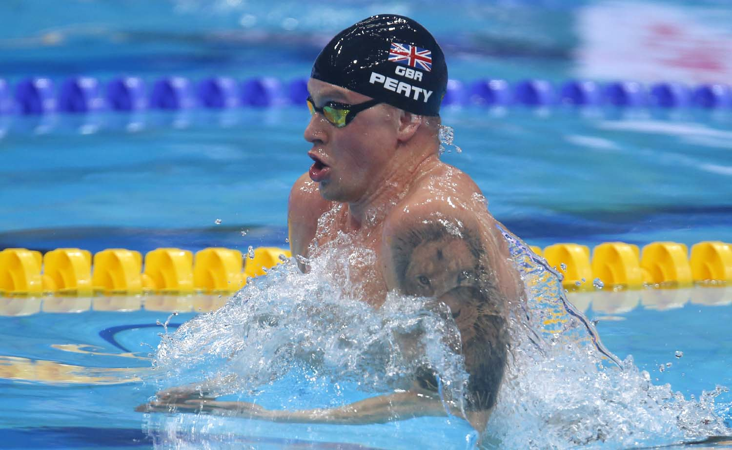 Britain`s Adam Peaty swims when setting a new world record in a men`s 50-meter breaststroke heat during the swimming competitions of the World Aquatics Championships in Budapest, Hungary on Tuesday.