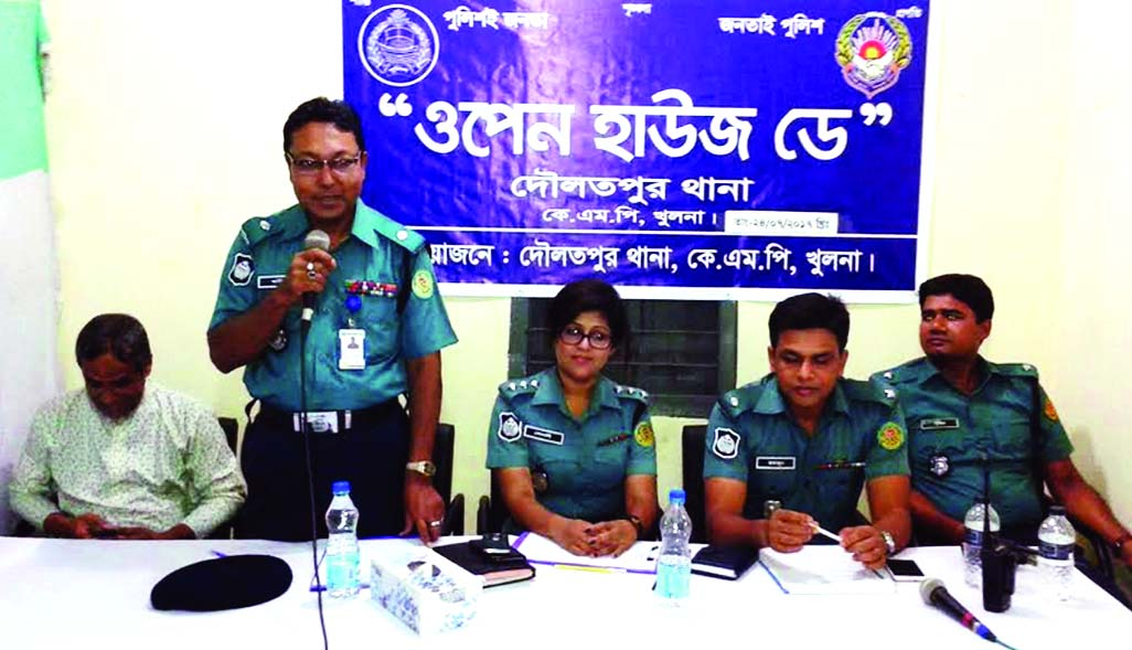 KHULNA:  Md Abdul Halim Molla, Additional Deputy  Commissioner (ADC, North) addressing  an Open House Day  at Daulatpur Upazial Police Station as Chief Guest on Monday.