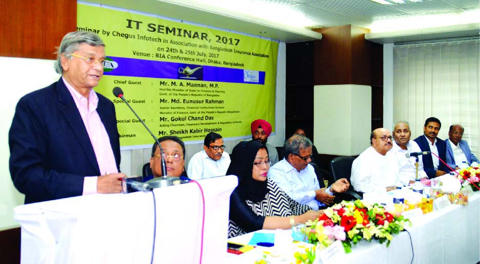 MA. Mannan, State Minister for Finance & Planning, addressing the IT Seminar of Genie Insurance Software at BIA Conference Hall on Tuesday.  AKM Monirul Hoque, Vice-President, Prof. Rubina Hamid, First Vice-President of BIA, Md. Eunusur Rahman, Senior Secretary, Financial Institutions Division, Ministry of Finance and . Gokul Chand Das, Acting Chairman, IDRA were also present.