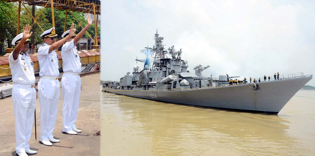 Officials of Bangladesh Navy waving hands to bid farewell to INS Ranvir, an Indian Warship after four days of  welcome visit  to Bangladesh  yesterday.