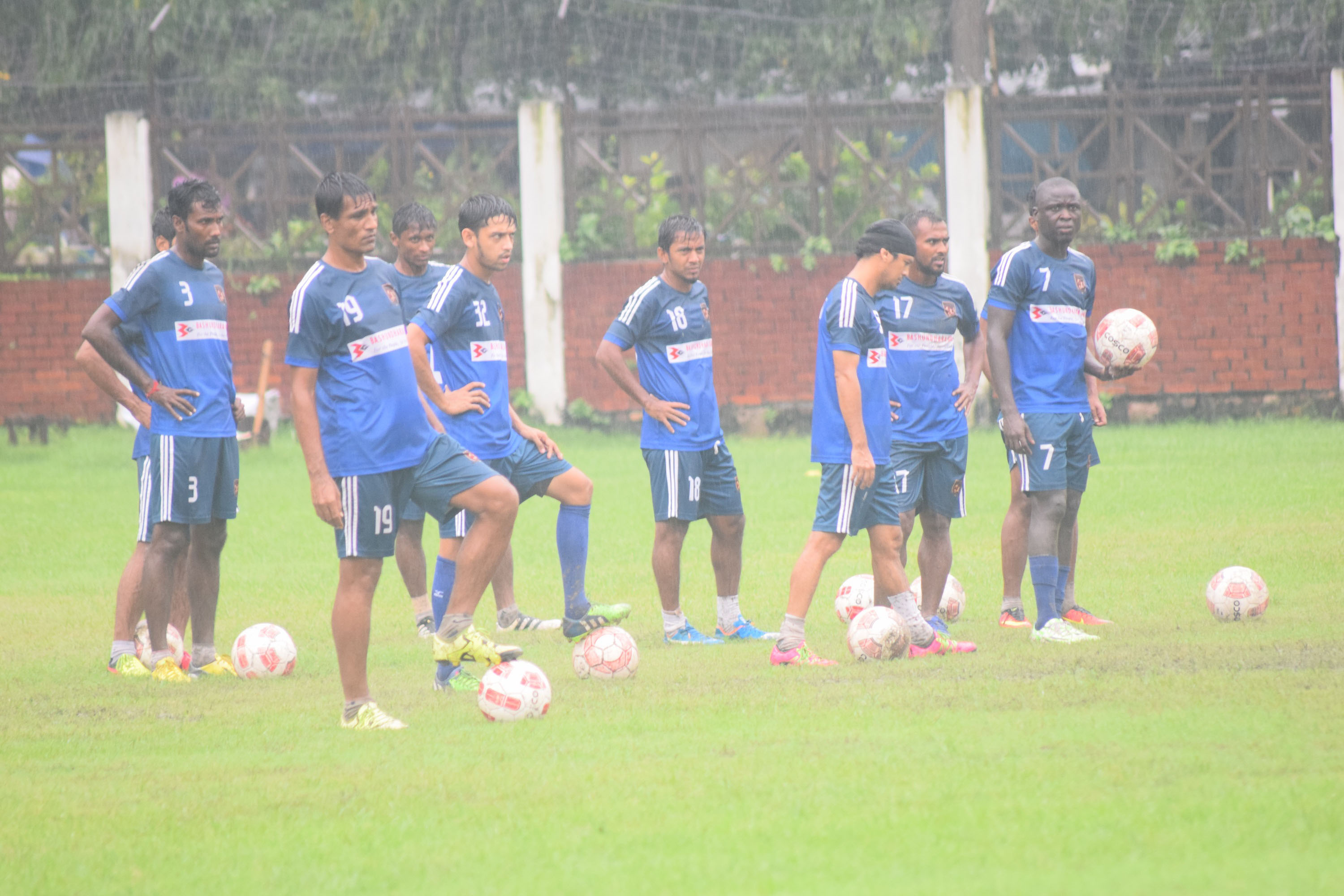Players of Sheikh Jamal Dhanmondi Club Limited during their practice session at the Sheikh Jamal Dhanmondi Club Ground on Saturday.