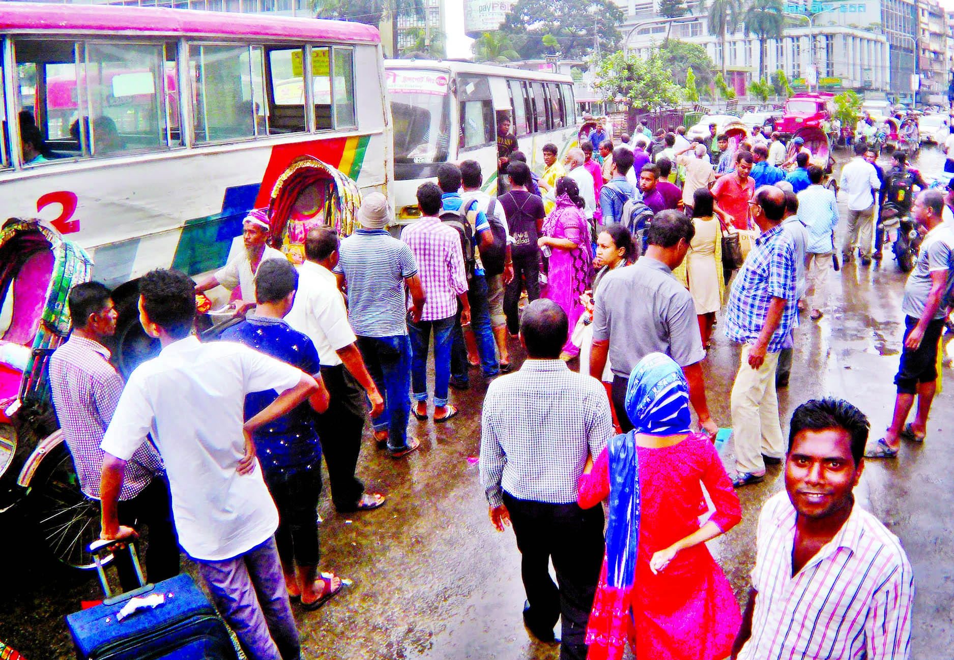 Home-goers' suffering mounts following the lack of public transport in city after two days of holiday. This photo was taken from Motijheel area near Shapla Chattar on Wednesday.