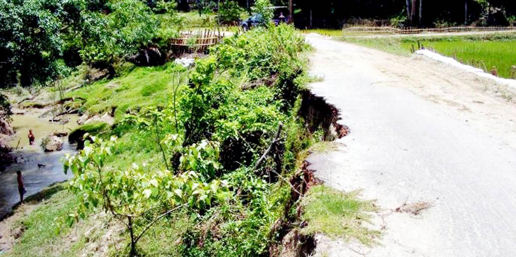 Dilapidated Matiranga to Taidanang Road at Khagrachhari Upazila needs immediate repair. This snap was taken on Tuesday.