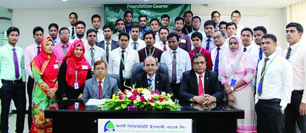 Quazi Osman Ali, Additional Managing Director of First Security Islami Bank Ltd. poses with the participants of its 25th Foundation Course of Trainee Assistant Cash Officers at its training institute in the city on Thursday. Md. Ataur Rahman, Principal and Muhammad Lutful Haque, Faculty Member of the institute were also present.