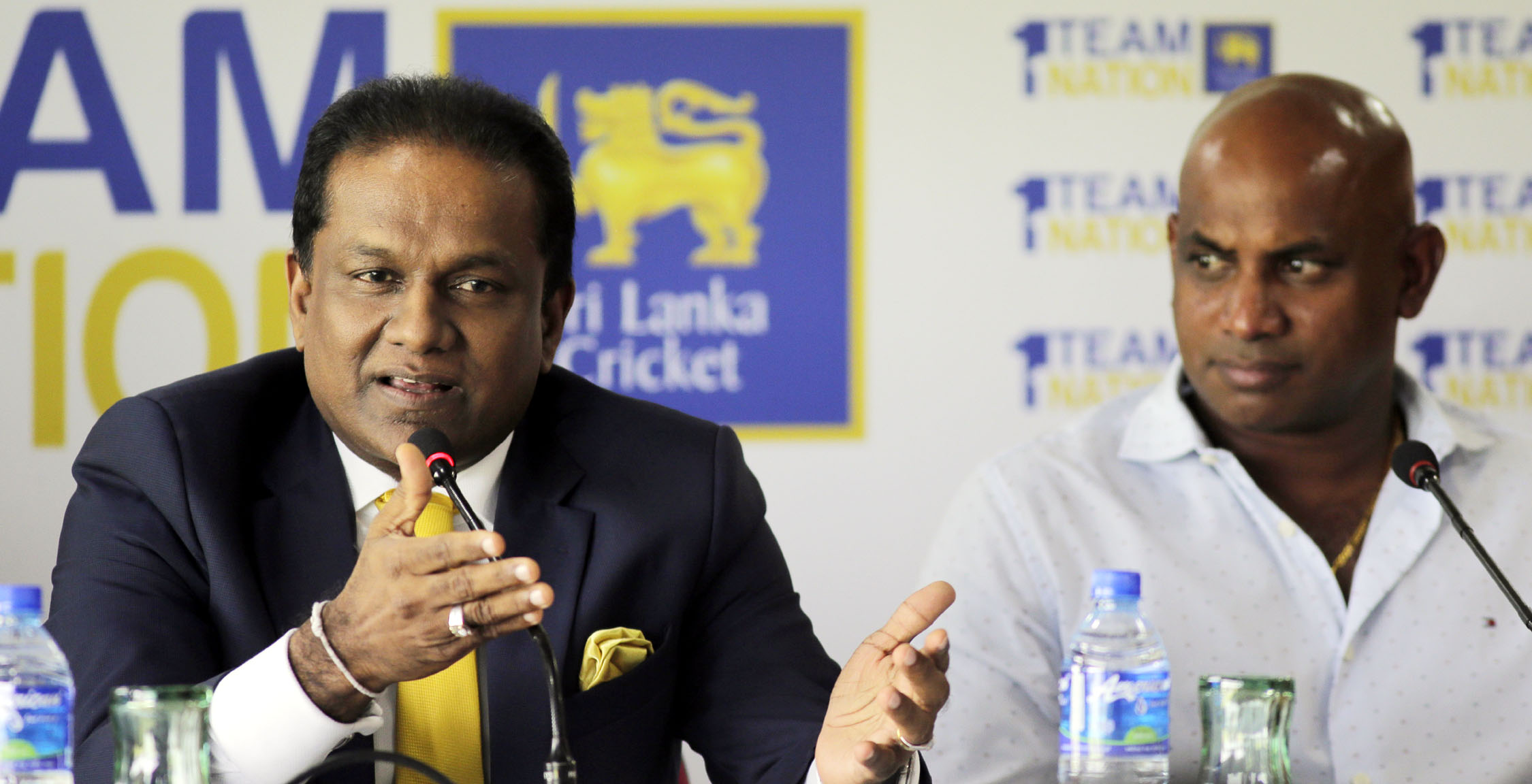 Sri Lankan Cricket President Thilanga Sumathipala (left) speaks as Chief Selector Sanath Jayasuriya watches during a media briefing ahead of the One-Day International cricket match series against India in Colombo, Sri Lanka on Wednesday.