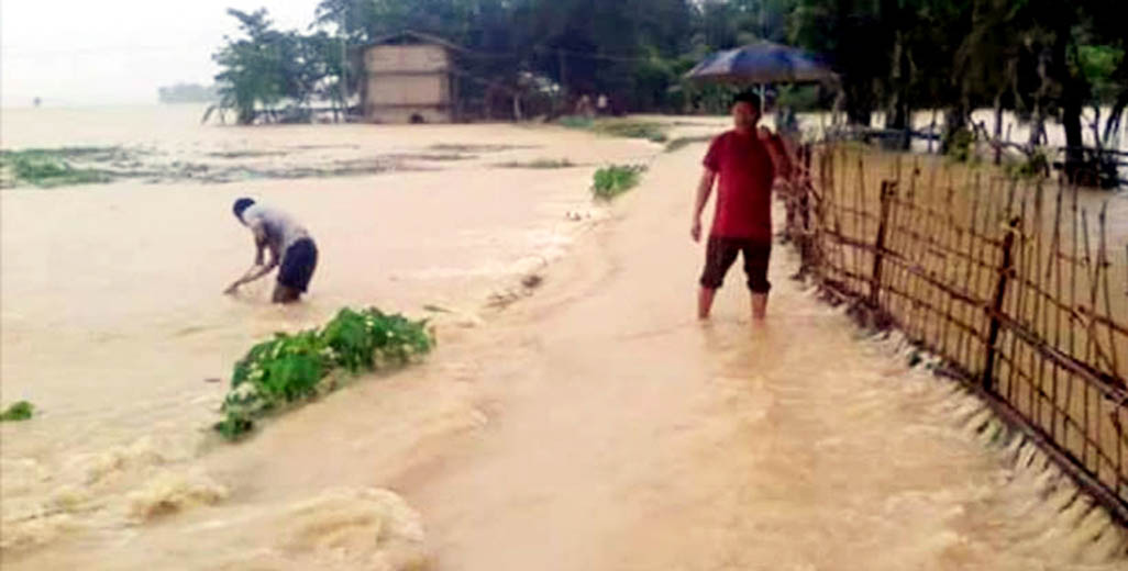 Bagaichhari Upazila in Rangamati has been flooded due to onrush of flood water from the upstream yesterday.