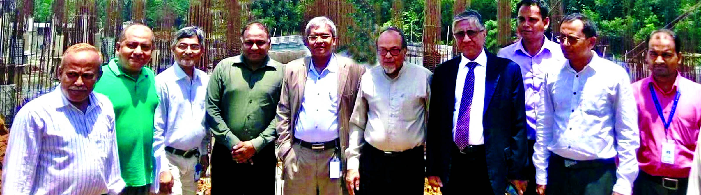 Ahmed Kamal Khan Chowdhury, Managing Director of Prime Bank Limited, poses after visiting the construction work of the project of Birds A&Z Limited at Gorai in Mirzapur recently. The bank financed the project. Syed Nazmul Huque, EVP of Commercial Banking Division of the bank, Eng. Mustafa Anwar, Chairman and Nazmus Shariar Saadat Anwar, Managing Director of the engineering farm were also present.