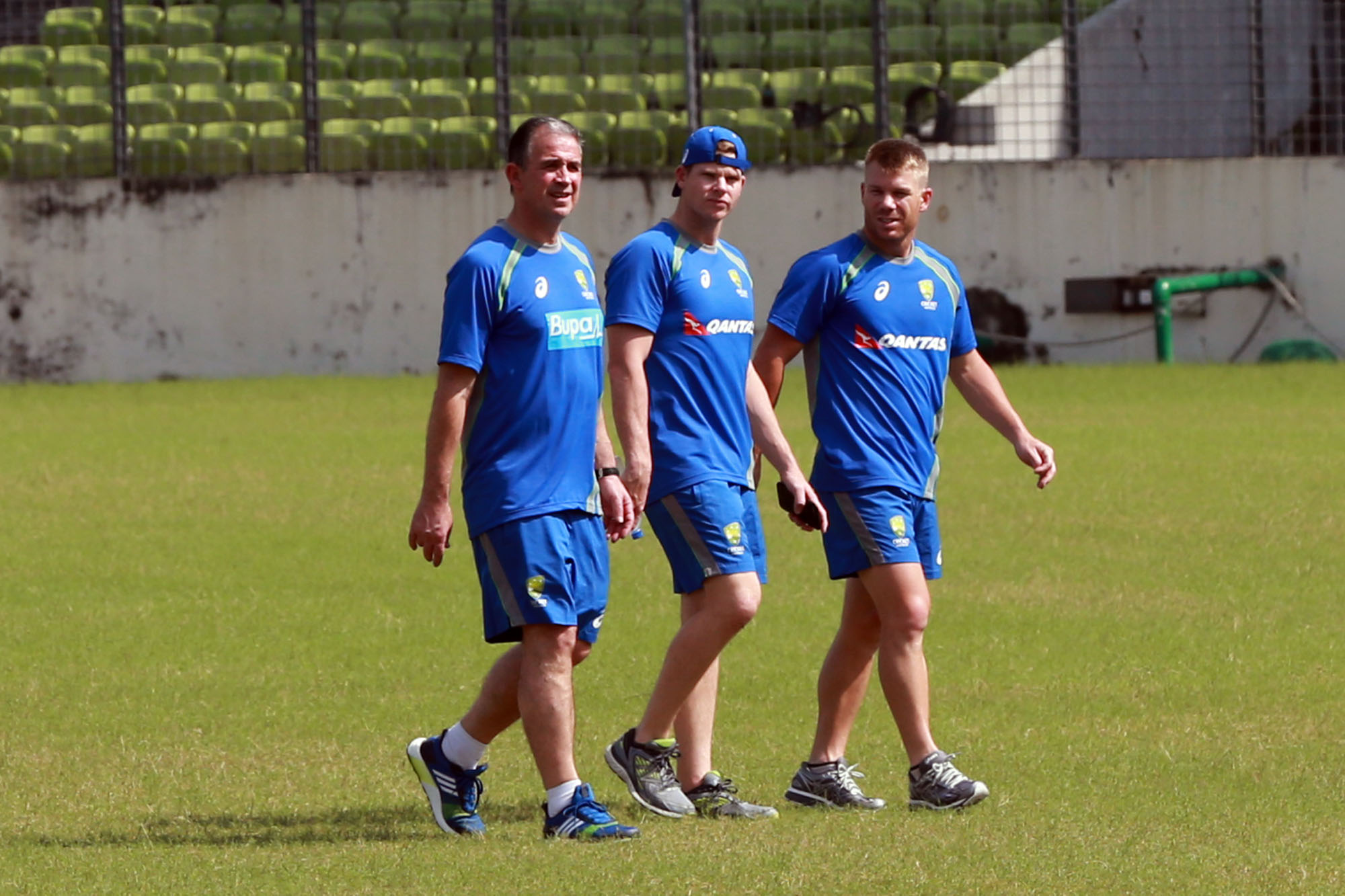 Members of Australian Cricket team during their practice session at the Sher-e-Bangla National Cricket Stadium in Mirpur on Saturday.