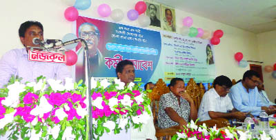TRISHAL(Mymensingh): Subrato Tarafdar, Executive Engineer of Trishal Pourashava and  President of Trishal Pourashava Karmochari- Karmokarta Association speaking at the workers' meeting of Bangladesh Pourashava Service Association, Mymensingh on Sunday.