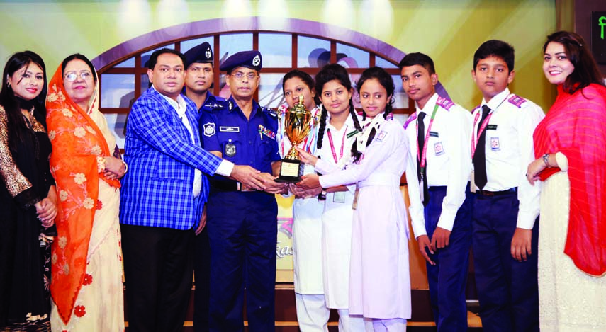 Inspector General of Police AKM Shahidul Haque, among others, at a prize giving ceremony of a debate competition on 'Role of Social Pledges in Preventing Extremism' organised by BRAC in the auditorium of Film Development Corporation in the city on Monday.
