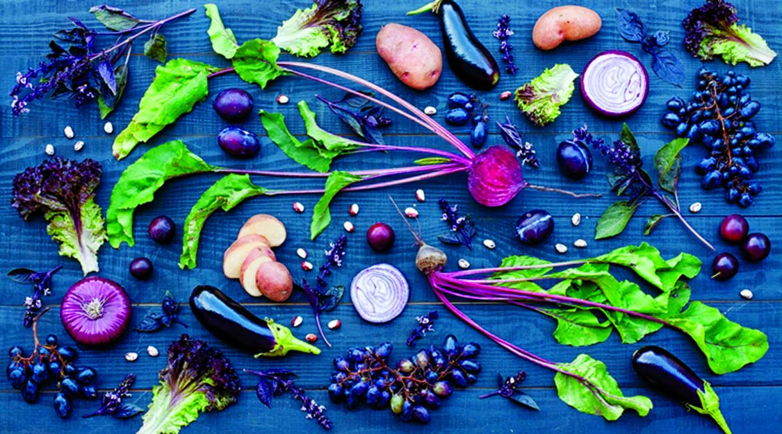 A natural purple pigment that contains flavonoids, including resveratrol, keeps blood pressure in control and boosts immunity from certain cancers. Purple foods contain anthocyanins, which are health-promoting chemicals that help protect and heal the body's cells