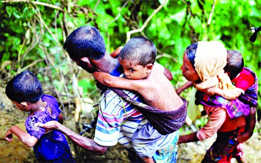 Rain compounds misery for Rohingyas: Myanmar plants landmines along border, confirms AI: Copters fire  towards village in Rakhine state: Rohingya exodus to BD nears 300,000, says UN