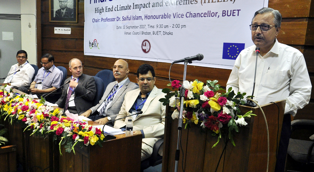 Prof Dr Saiful Islam, Vice-Chancellor, BUET delivering speech as chief guest at Final Stakeholder Workshop of the 'High End Climate Impact and Extremes (HELIX)' organized by Institute of Water and Flood Management (IWFM), BUET on Tuesday at BUET Council Bhaban. Dr Saleemul Huq, Director, ICCAD delivered speech as special guest. Among others, Dr Richard Betts, Team Lead, HELIX and Professor, Exeter University, Dr AK Gosain, Lead WP9, HELIX and Professor, IIT-Delhi, India, Dr AK M. Saiful Islam, Institutional Lead (BUET), HELIX and Professor, IWFM, BUET also spoke on the occasion. Dr Mashfiqus Salehin, Professor and Director of IWFM, BUET delivered the welcome address.
