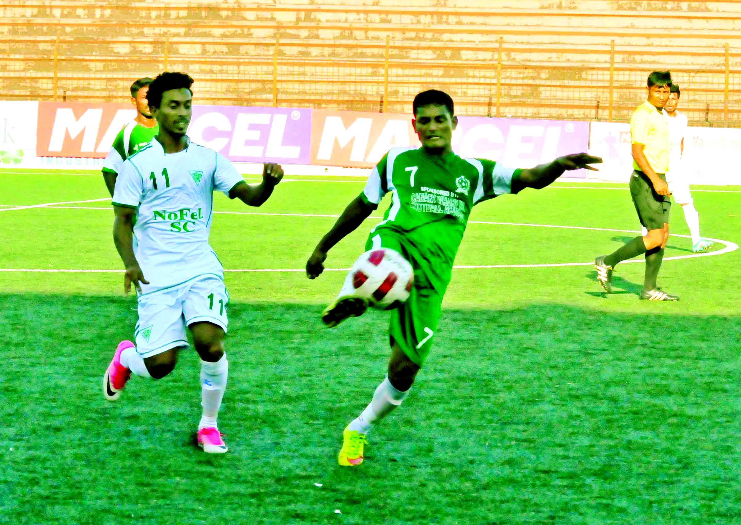 A view of the match of the Marcel Bangladesh Championship League Football between Nofel Sporting Club and Motijheel T&T Club at the Bir Shreshtha Shaheed Sepoy Mohammad Mostafa Kamal Stadium in the city's Kamalapur on Friday. The match ended in a goalless draw.