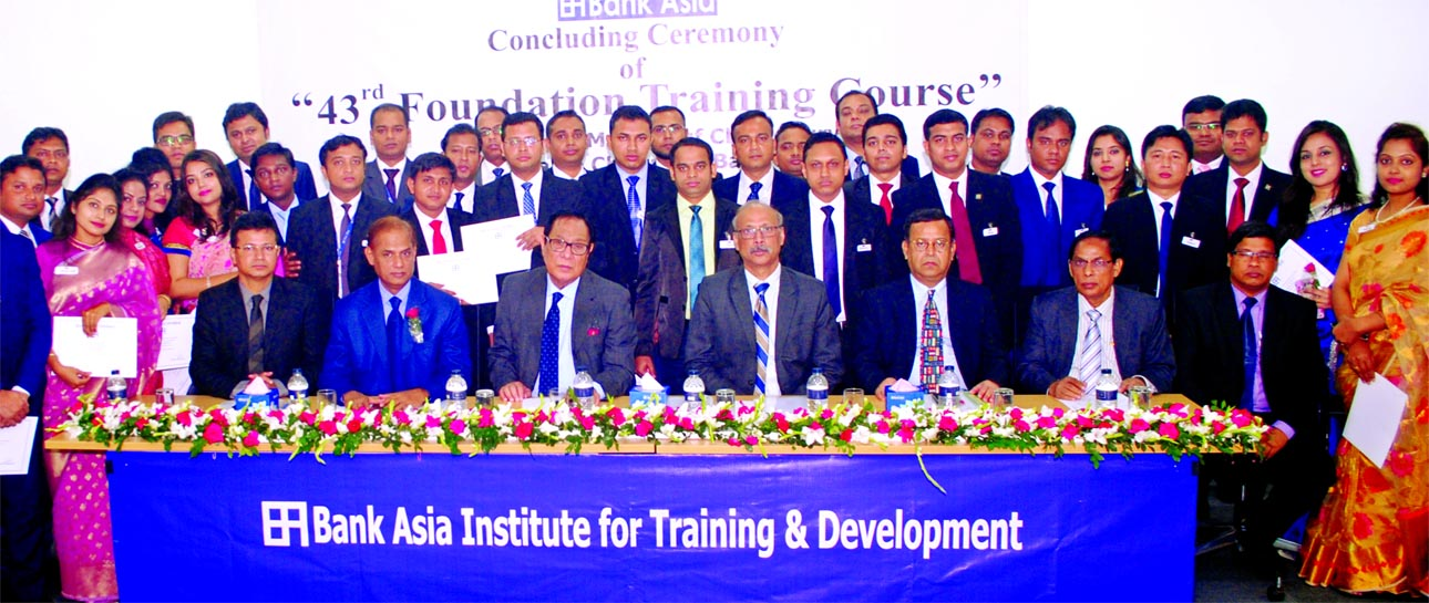 A Rouf Chowdhury, Chairman of Bank Asia Limited, poses with the participants of 43rd Foundation Training Course in BAITD at the bank's head office in the city recently. Mian Quamrul Hasan Chowdhury, DMD, Md. Sazzad Hossain, head of ICCD and KS Nazmul Hasan, head of HRD of the bank were present.