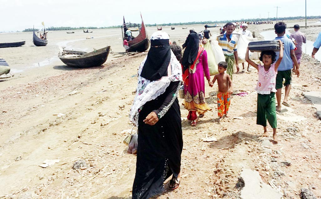 Rohingyas are still entering into Bangladesh. This snap was taken from Shahporir Dwip on Friday.