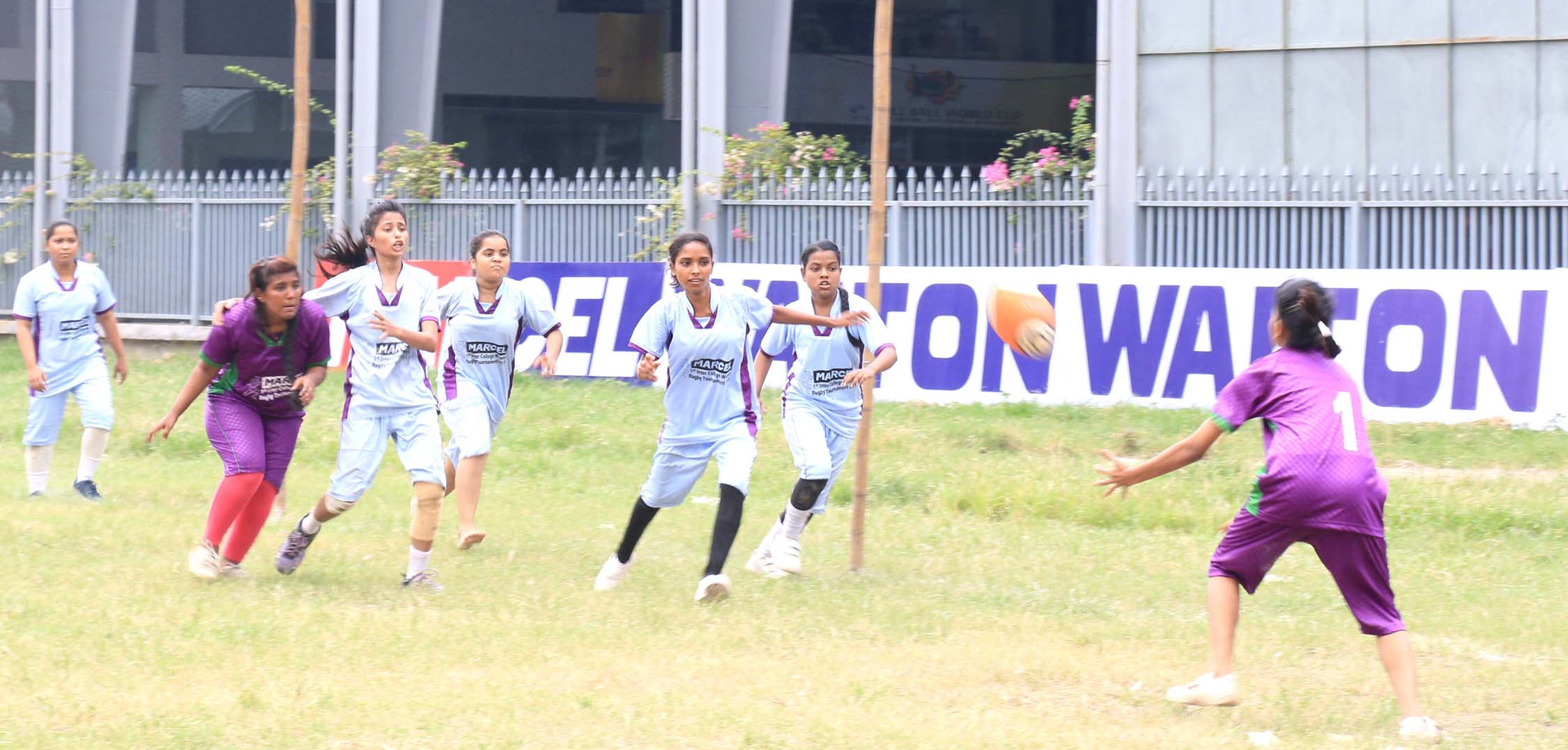 A scene from the match of the Marcel Inter-College Women's Rugby Competition held at the Paltan Maidan on Sunday.