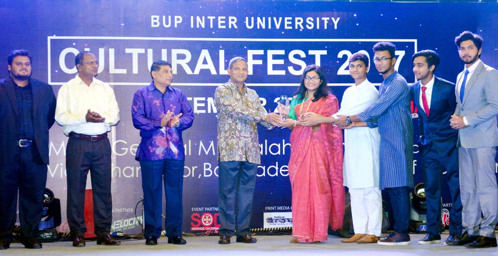 Vice Chancellor of Bangladesh University of Professionals Maj Gen Md Salahuddin Miaji, rcds, psc distributing prizes among the winners of BUP Cultural Fest 2017 held at Bijoy Auditorium of the University on Saturday.