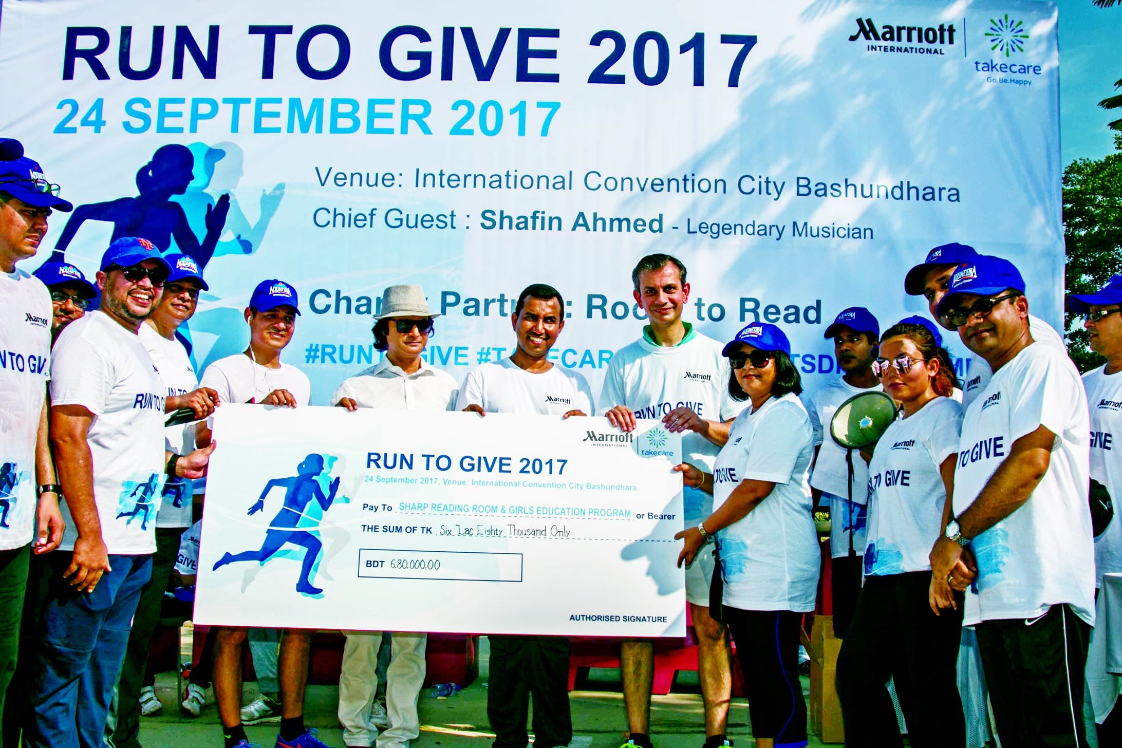 Musician Shafin Ahmed takes part for the fund raising marathon event 'Run to Give' a charity initiative for the children in Dhaka comprised of 10 km starting from International Convention City Bashundhara to Kanchon Bridge on Sunday. Le Méridien Dhaka and Four Points by Sheraton Dhaka jointly hosts the Marriott Internationals' event.