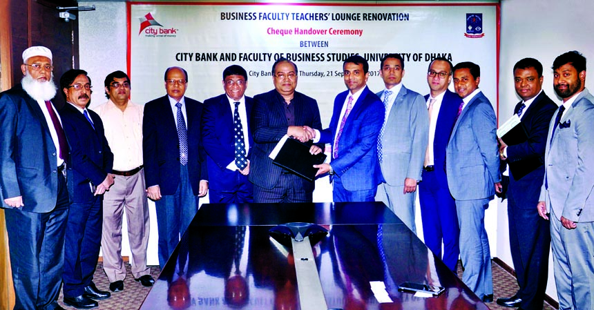 Abdul Wadud, Deputy Managing Director of City Bank Limited, handing over a donation cheque to Professor Shibli Rubayat Ul Islam, Dean of the Faculty of Business Studies of University of Dhaka at the bank's head office recently. Sohail RK Hussain, Managing Director of the bank was also present among others.