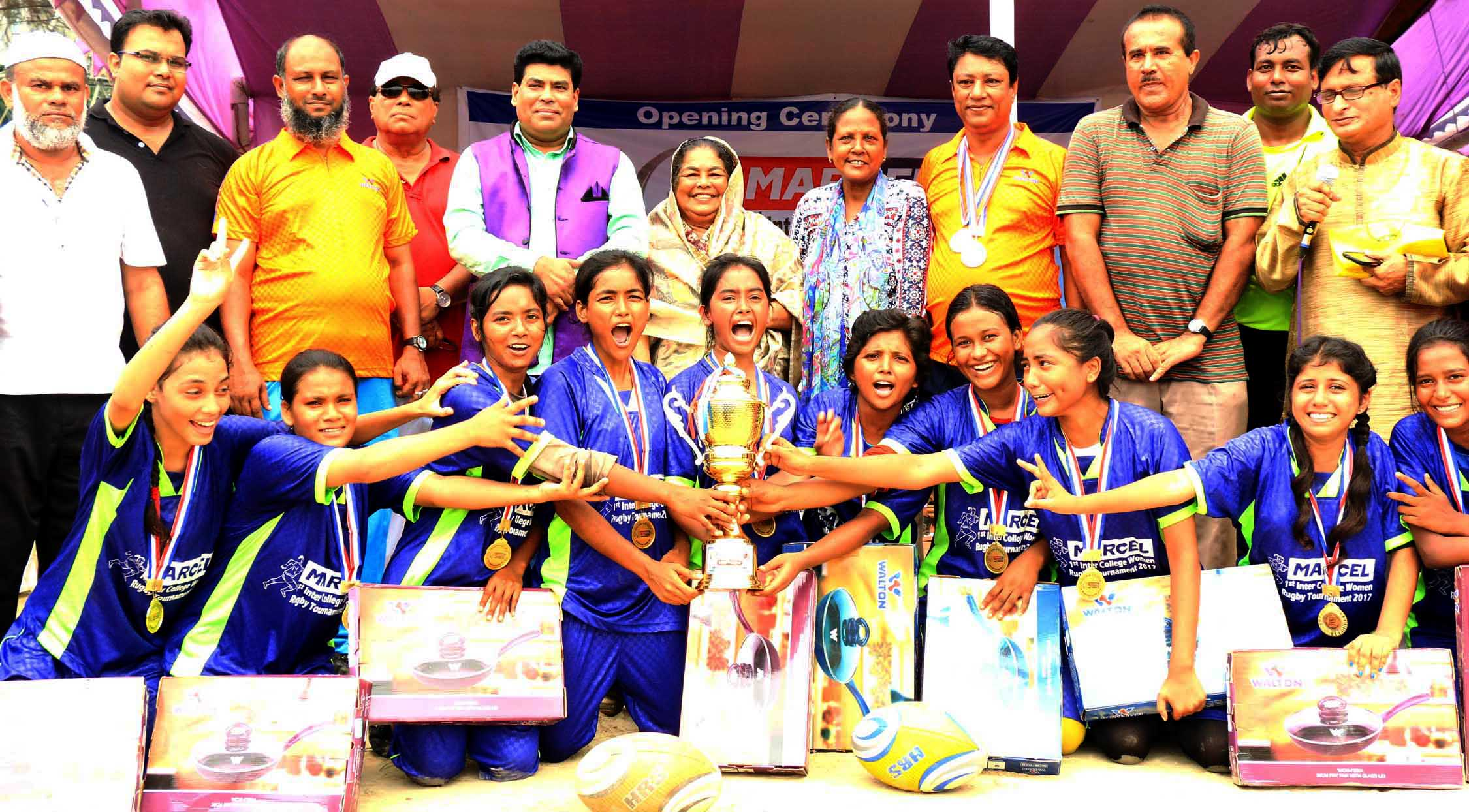 Inter-College Women's Rugby Narayanganj College become champions