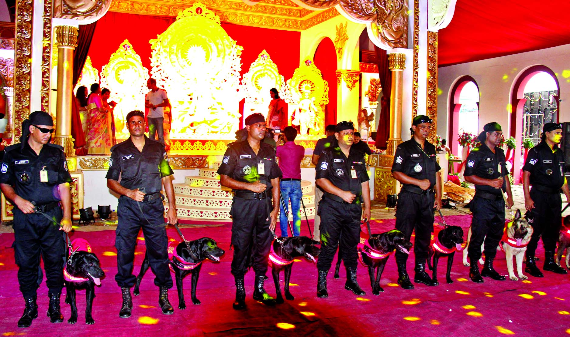 Security steps beefed-up around Puja mandops to face any untoward situation across the country. This picture was taken from a Durga Puja mondap in city's Banani area on Tuesday.