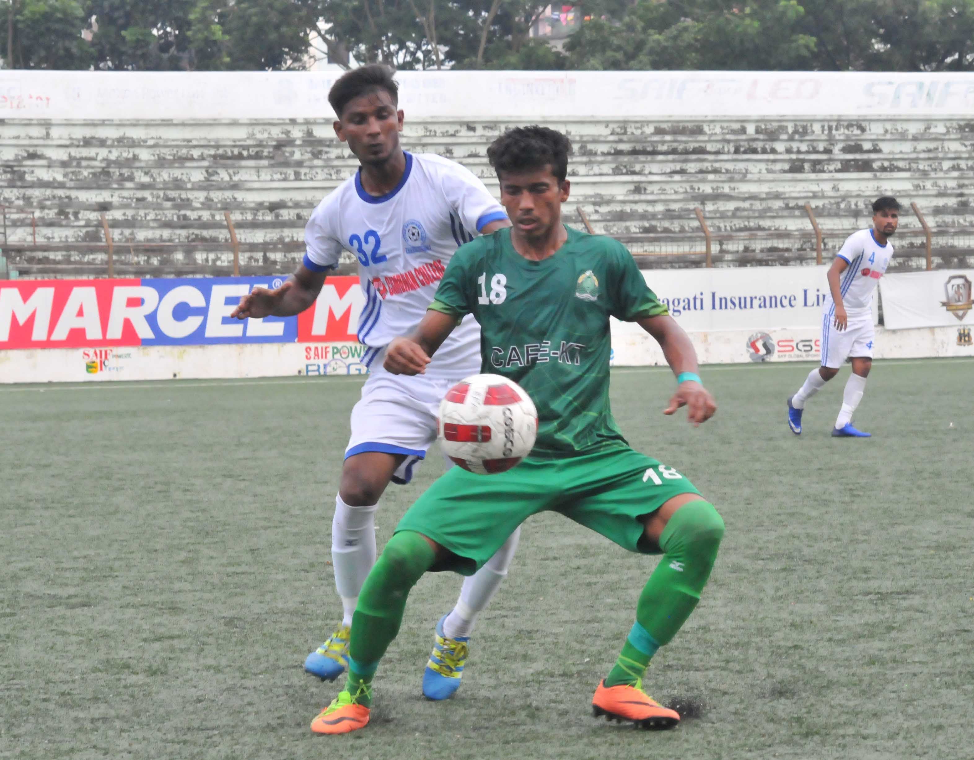 A view of the match of the Marcel Bangladesh Championship League Football between Uttar Baridhara Club and Victoria Sporting Club at the Bir Shreshtha Shaheed Sepoy Mohammad Mostafa Kamal Stadium in the city's Kamalapur on Thursday. Uttar Baridhara Club won the match 2-1.