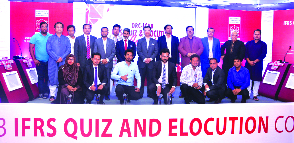 Adeeb Hossain Khan, FCA, President of Institute of Chartered Accountants of Bangladesh (ICAB), poses with the winners of 'DRC-ICAB IFRS Quiz and Elocution Contest 2017' at its auditorium in the city on Friday. Senior executives of the organization were also present.