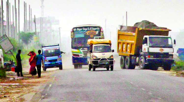 Drivers of motorized vehicles trying to overtake another vehicle whimsically on the highway facing accident anytime, but the authority concerned seemed to be blind to stop this competition. The snap was taken from Dhaka-Mawa highway on Monday.
