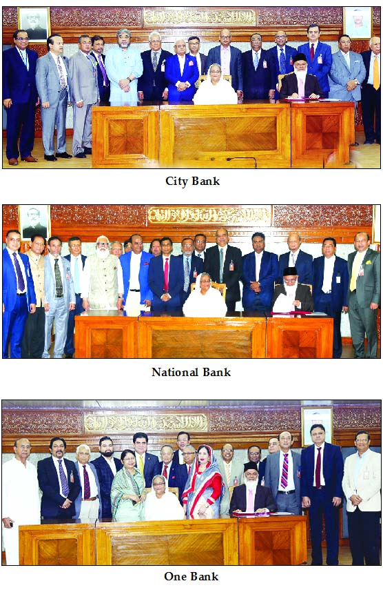 Prime Minister Sheikh Hasina, attends at a photo session after receiving Tk 5 crore as donation from the following banks for the financial  assistance to the oppressed Rohingya refugees at her office on Monday.