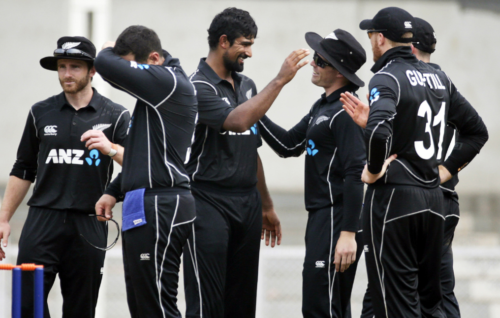 New Zealand players celebrate the wicket of India A player KL Rahul during a warm up match in Mumbai, India on Tuesday.