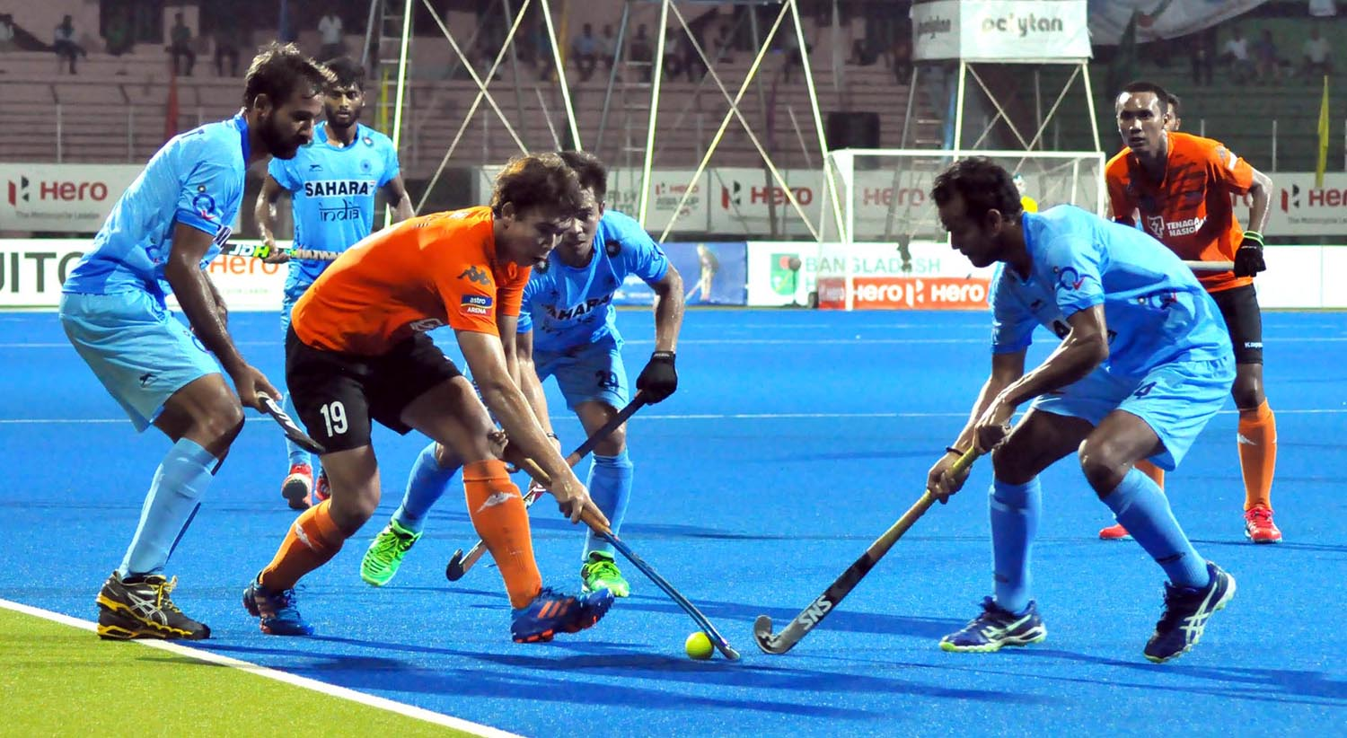 A view of the 'Super Four' match of the Hero Asia Cup Hockey between India and Malaysia at the Moulana Bhashani National Hockey Stadium on Thursday.