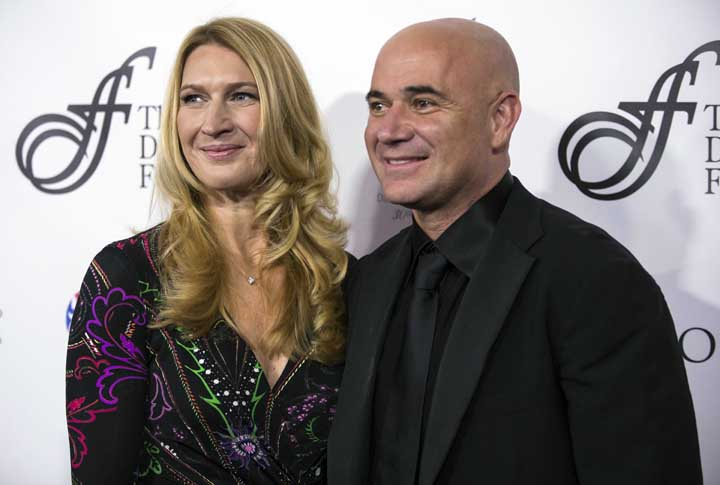 Steffi Graf (left) and Andre Agassi arrive for the David Foster Foundation 30th Anniversary Miracle Gala and Concert, in Vancouver, British Columbia on Saturday.
