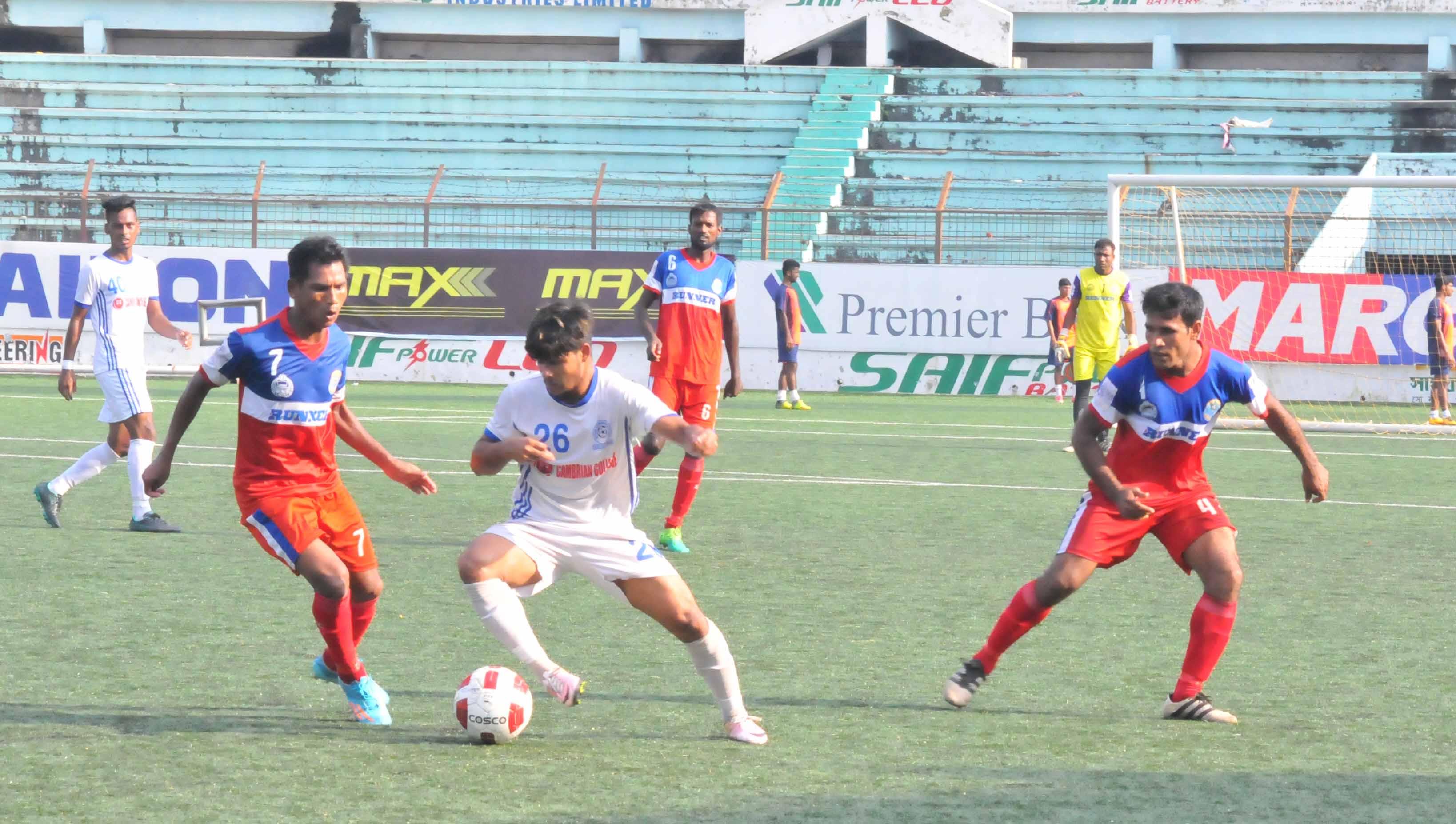 A moment of the match of the Bangladesh Championship League Football between Bangladesh Police Football Club and Uttar Baridhara Club at the Bir Shreshtha Shaheed Sepoy Mohammad Mostafa Kamal Stadium in the city's Kamalapur on Sunday. Bangladesh Police Football Club won the match 2-1.